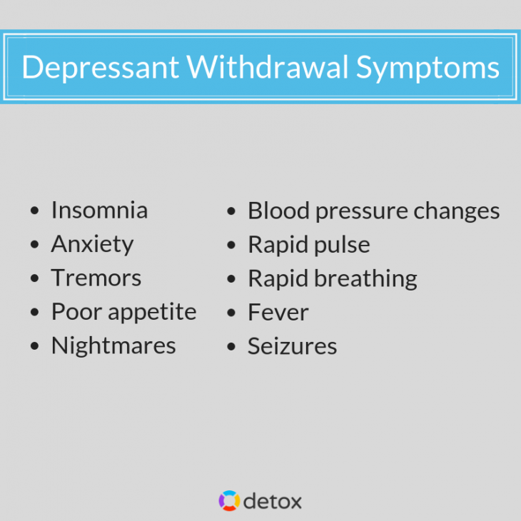 list of symptoms of depressant withdrawal including insomnia and anxiety